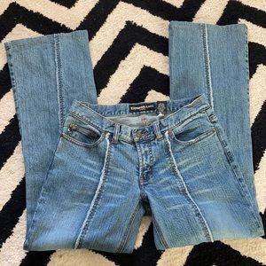 Y2k Express light wash center raw seam flare jeans